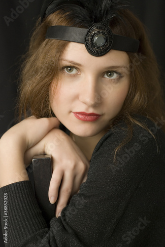 Retro portrait of beautiful young woman