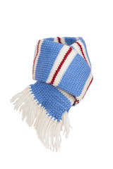 Warm knitted scarf and hat with stripes isolated