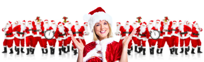 Happy Christmas santa helper girl. New year.