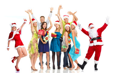 Happy Santa Claus and group of people. Christmas party.