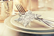 Closeup of elegant christmas table setting