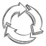 Fototapety Doodle of three circular arrows