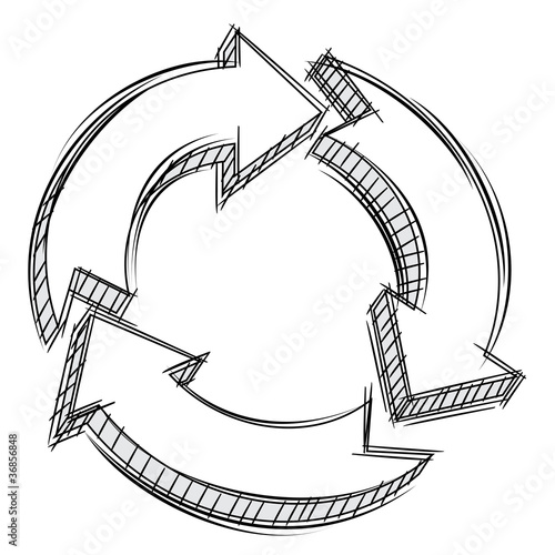 Doodle of three circular arrows