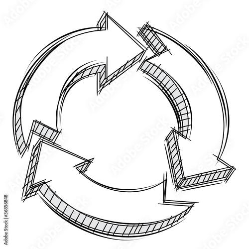 Doodle of three circular arrows