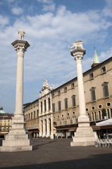 Vicenza (Veneto, Italy): The main square with two columns