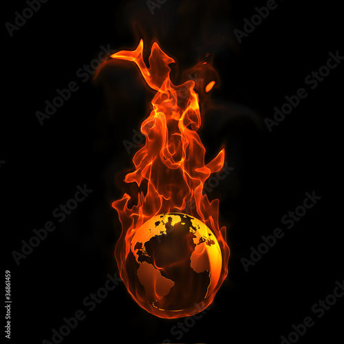 3d Earth on Fire on black background