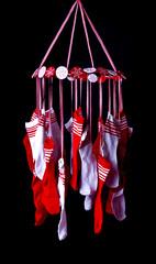 Adventskalender strümpfe rot weiß