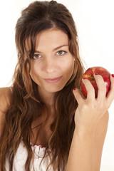 woman smile apple
