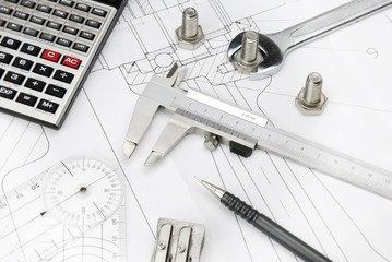 technical drawing and calculator