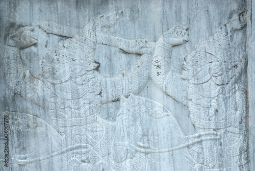 Thai art stone Bas Relief sculpture .
