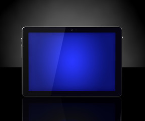 Blue touch screen digital tablet on black