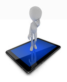 Thinking man standing on tablet