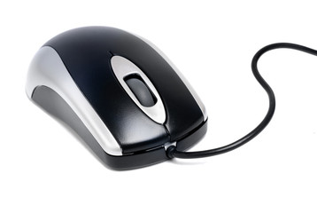 black-silver  laser computer mouse  isilation  on  white