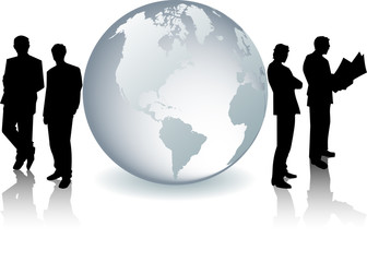 Glass Globe With Bussinesmen Silhouettes