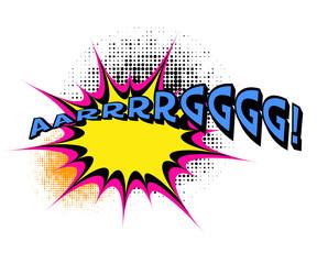 """""""Argg"""". Comic book explosion."""