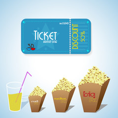 Cinema objects. Ticket, popcorn and drinks. Vector