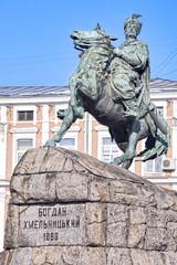 Bronze monument of Ukrainian Hetman Bohdan Khmelintsky in Kiev