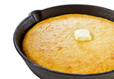 Close up of cornbread in iron skillet