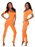 Sexy Sporty Girl in Orange Fitness Suit