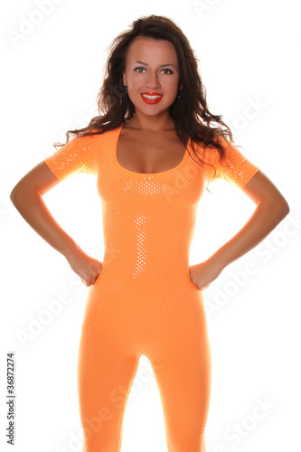 Sexy Sporty Girl in Orange Suit