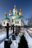 Churchyard and the church at Kiev Pechersk Lavra in snow