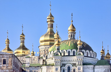 Golden cupolas of Assumption cathedral in Kiev Pechersk Lavra