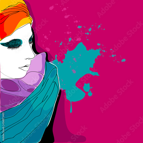 Beautiful hand drawn style elegant woman portrait - 36873401