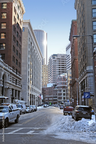 Boston street scenery at winter time