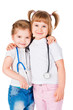 Two girls with a stethoscope