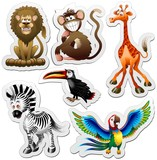 Animali Giungla Adesivi Sticker Jungle Animals Icons-Vector