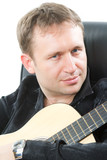 guitarist playing acoustic six-string guitar isolated poster