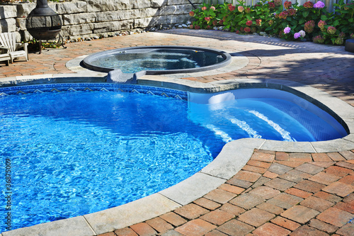 Swimming pool with hot tub - 36875009