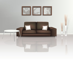 Modern Living Space with Brown Sofa