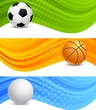 Set of banners with ball