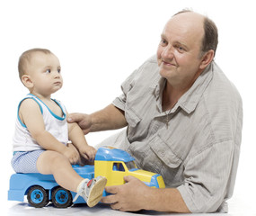 Portrait of grandfather with his little grandchild