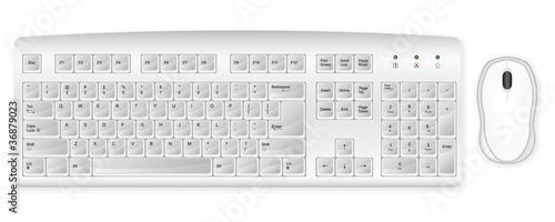 white keyboard and mouse - 36879023