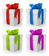 set of four gift boxes with color bows isolated on white