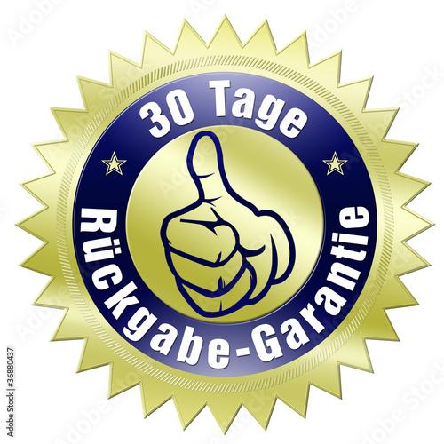 rückgabe-garantie 30 tage button gold daumen hoch oben