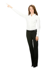 Business woman showing something, isolated