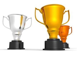 three trophy winner cups