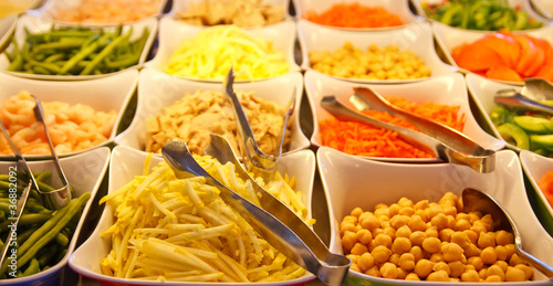 Sprouts and Garbanzo Beans on Salad Bar