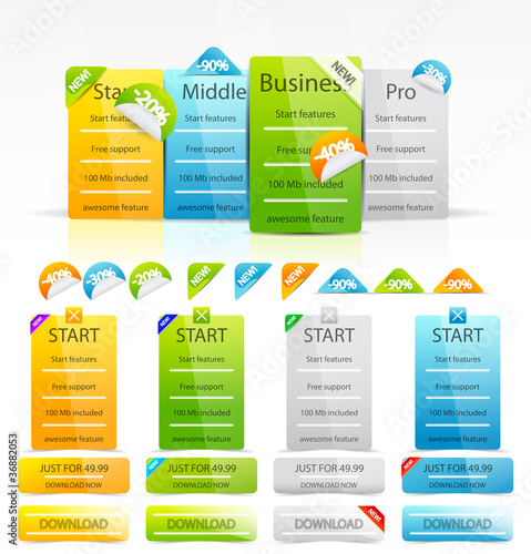 Vector clean color web boxes and labels
