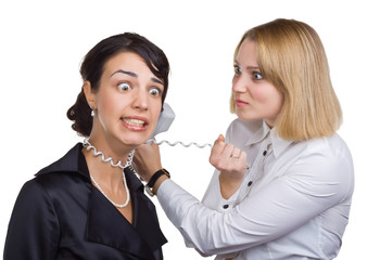 Business woman with telephone wire strangling another woman
