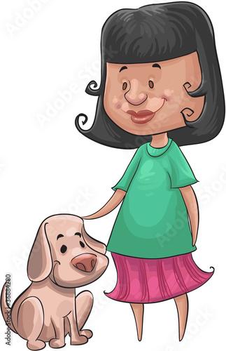 girl and the dog