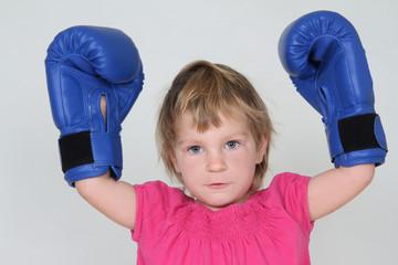 young girl boxer studio shot