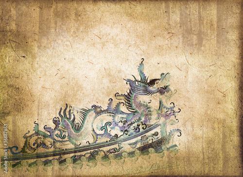 Dragon chinois, style vintage