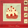 vintage card with a strawberry and chocolate cake