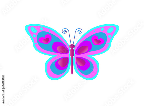 terfly with spots in blue and pink colors