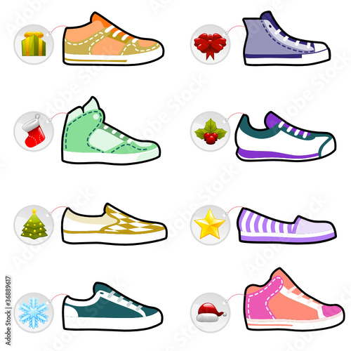 shoes with christmas labels