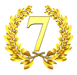 7 seven number laurel wreath